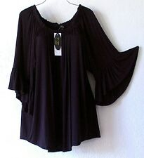 NEW~CUPIO~Black Peasant Blouse Ruffle Shirt Romantic Boho Plus Top~22/24/2X