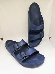 Birkenstock Arizona Men Sandals 2-Strap Blue/ White Buckle Sz 12/45
