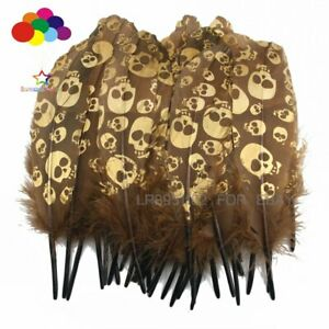 10-100pcs Skull head Gold Dipped Brown goose feather 15-20CM Wedding making