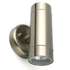 Stainless Steel Up And Down Wall Light Spotlight Complete With Bulbs GU10
