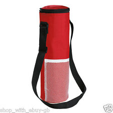 INSULATED BOTTLE COOL BAG WITH STRAP - RED PICNIC DRINKS CARRIER / WINE COOLER