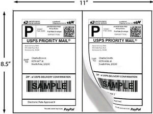 Half Sheet Self Adhesive Premium Shipping Labels 8.5 X 5.5 inches 200 Pack