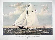"1882 ART, SHIP, Sailing, Yacht, antique, Gracie of NEW YORK, 20""x16"" Canvas Art"