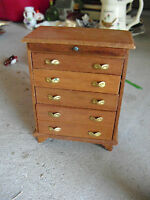 "Vintage Dollhouse Furniture - Wood Bedroom Dresser 4 1/4"" Tall"