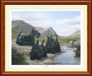 SCOTTISH TERRIERS dog print 'Bravehearts' 3 Scotties