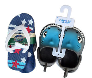 LOT OF 2 Capelli Toddler Boy's Shark Clogs + American Lifestyle Flip-Flops, NEW