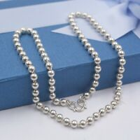 Solid Fine S999 Silver Necklace Luck Smooth Beads Link Chain 20inch 5mmW 22.84g