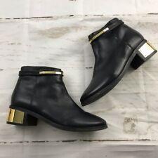 Kurt Geiger Black Leather & Gold heeled booties