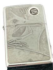 1995 Zippo Lighter - Barrett Smythe Pterodactyl - Dinosaur Series Chrome - Nmint