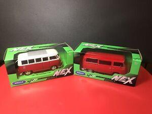 1/24 Welly NEX, 1963 T1 & 1972 T2 Red VolksWagen Bus Set Of 2, BNIB