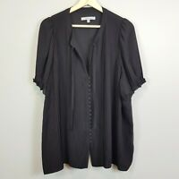 [ CHESCA ] Womens Black Blouse Top  |  Size AU 22 or US 18