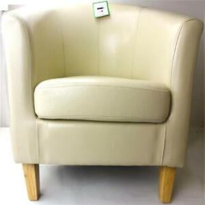 Armchair TUB Chair Sofa Cream Bonded Leather Office Reception Dining Living Room