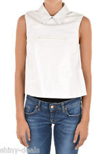 DROMe New Woman White 100% LEATHER Sleeveless Zipped Top Blouse Size S $764 SALE