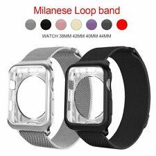 Caja y Correa Lujo Diamond Case Milanese Loop Band for Apple Watch Series 3 4 5