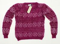 NWT Jon and Anna Women's Junior Fit Patterned Feather Knit Sweater Plum Small