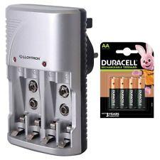 Lloytron AA & AAA Battery Charger + 4 Duracell AA 1300mAh Rechargeable Batteries