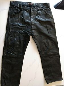 Vtg RALPH LAUREN Polo Jeans Co. Genuine Leather Pants Black MAN