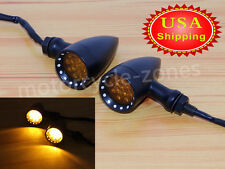 USA Motorcycle 10MM Bullet Amber LED Turn Signal Indicator Lights Black 3 Wires