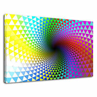 Psychedelic Trippy Geometric Rainbow Pattern Canvas Wall Art Picture Print