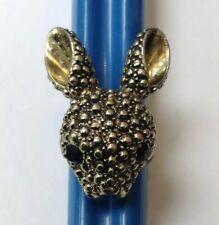 Rabbit Head Ring Size Small M Costume Jewellery Blue Eyes.