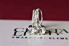 Silver Plated 6mm Clear Leverback Earrings with Swarovski Crystal Element