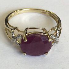Vintage Solid 9ct Gold Large Ruby Diamond Set Shoulders Dress Ring Size N1/2
