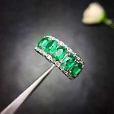 Certified Natural Emerald S925 Silver Plated White Gold Engagement Ring Gifts