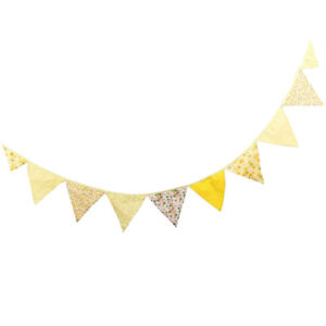 Cotton Bunting Banner Yellow Wall Hanging Flag Wedding Party Decoration 3.2m
