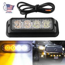 4LED White/Amber Grille Strobe Light Side Marker Flash Emergency Warning Bar 12V