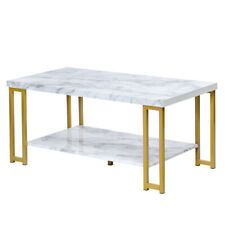 Faux Mable Top Coffee Table Accent Cocktail Table Gold Metal Frame House Decor