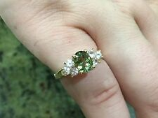 14K Yellow Gold Green Sapphire Ring w/White Sapphire Accents