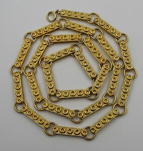 """Vintage Heavy 18K Yellow Gold Modernist Mid-Century Chain Necklace 30.5"""" 140.7gm"""