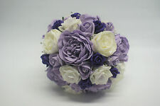 Bridal Wedding Bouquet - Ice Lilac and Ivory Roses, Peonies and touch of Purple