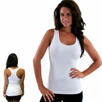 Womens Black Tank Top Ribbed Racer Back White Stretchy Yoga A-Shirt New