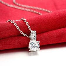 18K White Gold Plated Diamond Simulated Necklace made with Swarovski Crystals