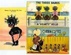 3 BLACK COMIC different 1940's Linen Postcards RACIST HUMOR