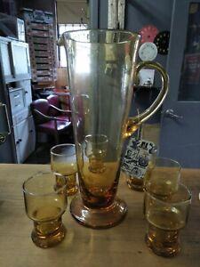 Vintage Retro Amber Glass Water Jug & 6 Glasses