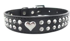 Hundehalsband Lederoptik Schwarz mit Steinen und Herz