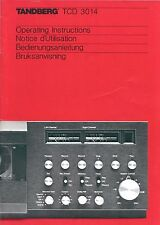 Tandberg 3014 Cassette Deck ULTRA RARE Owners & Service Manual ~LOOK~ !!!