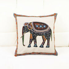Square Woven Cushion Cover/Pillow Cover/Seat Cushion case with an elephant