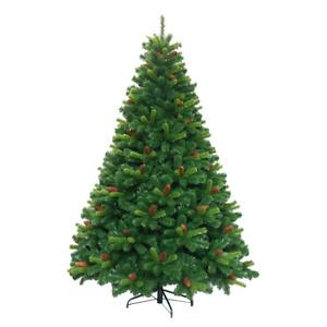 Albero di Natale Realistico Pino con Pigne in Pvc Verde Folto Alto da 180 cm