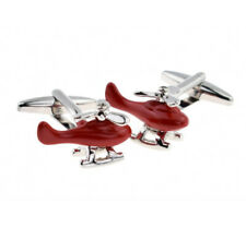 Red Helicopter working silver propeller Cufflinks cuff buttons pilot fathers day