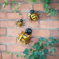 Garden Ornaments Set 3 Bumble Bee Ladybird Wall Art Metal Home Indoor Decor NEW