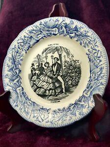 Antique Vintage French Nursery Child Plate Longwy Pottery - Paris Au Bal No 6
