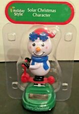 NEW Solar Powered Dancing Winter Christmas Snowman Frosty on Scooter Bobble Head