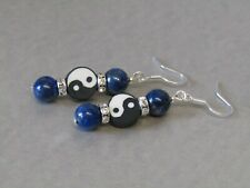 Lapis Lazuli & Crystal- Yin Yang Dangle/Drop Sterling Silver Earrings. Stunning!