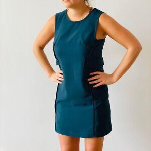MASSIMO DUTTI (Zara Group) DEEP GREEN SHIFT DRESS WAIST Uk 10 Medium
