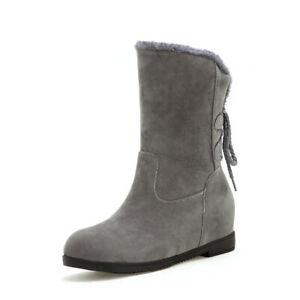 Womens Fur Lined Round Toe Hidden Wedge Heel Suede Mid Calf Boots Winter Shoes