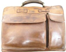 Wilson Leather Distressed Attache Bag Brass Rivets Brown Two Zippers Phone Pouch