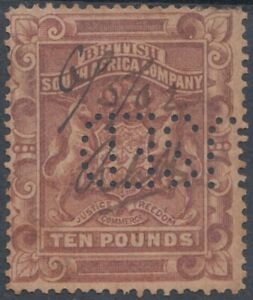 F-EX3852 RHODESIA 10 POUND BRITISH SOUHT AFRICA COMPANY. USED PERFORATION.